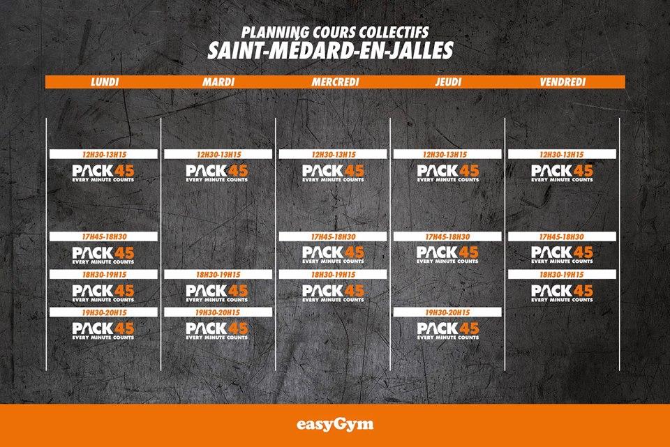 Actus planning Galerie Saint-Médard EasyGym